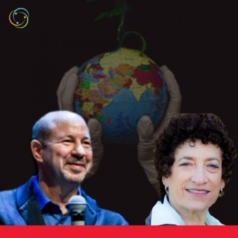 a globe beings held by hand wearing plastic gloves and the glove is sprouting a vine- profile images of Michael E. Mann and Naomi Oreskes