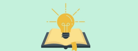 open cartoon book with light bulb hovering over