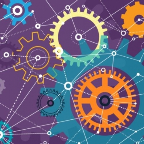 purple background with blue and yellow gears