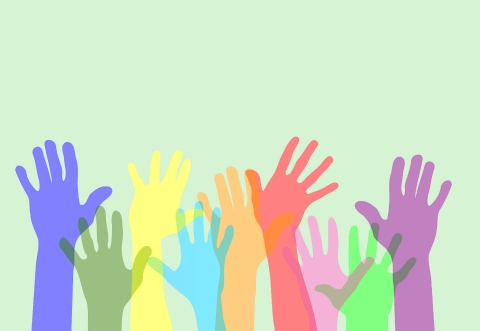 Multiple hands raised in different colours on a light green background