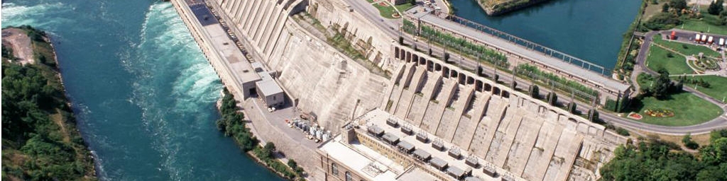 Aerial view of a dam.