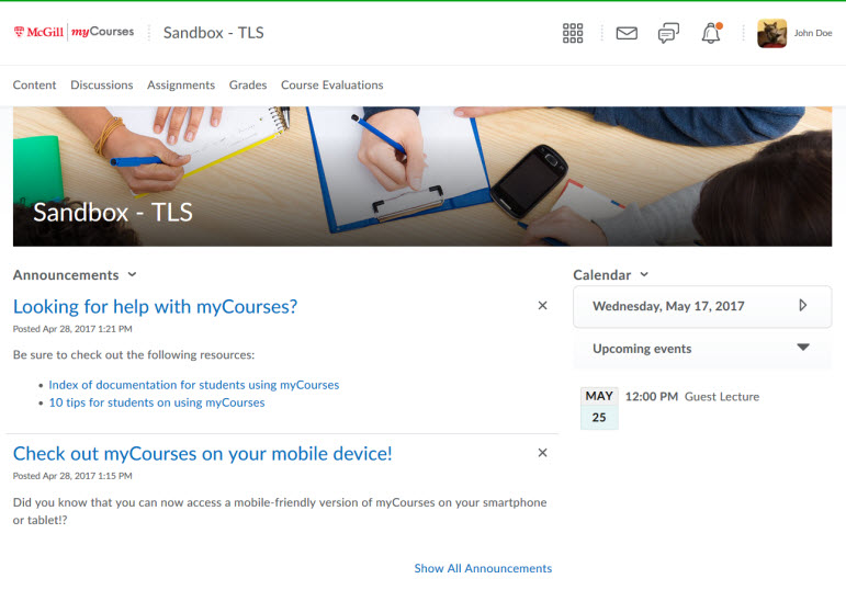 Student view of the new interface for myCourses