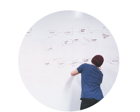 Student making a mind map of a whiteboard