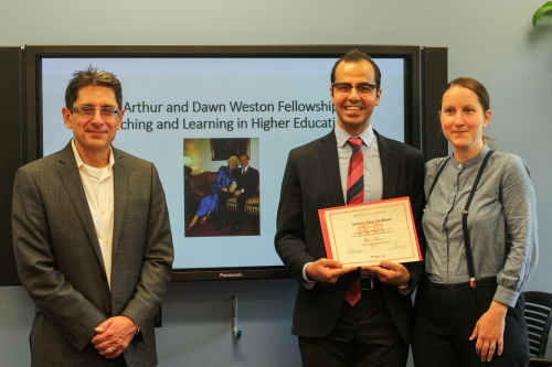 Armin Alex Yazdani, recipient of the Weston Fellowship, standing with Prof. Ollivier Dyens, Deputy Provost (Student Life and Learning) and Prof. Judith Mandl, Physiology.