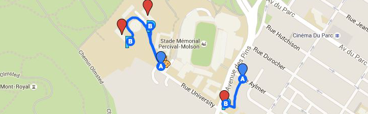 Map of the 3661 University lot and alternate parking area: Upper Residences lots.