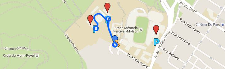 Map of the Currie Gym lot and alternate parking area: Upper Residences lots.