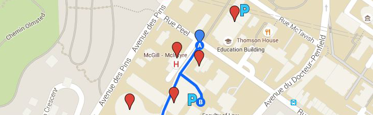 Map of Education garage and alternate parking area: McIntyre garage.