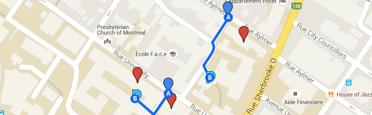 Map of FDA parking area and alternate parking area: lot behind Strathcona Music/RVC.