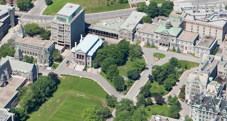 Aerial view of the Main Campus, McGill University.