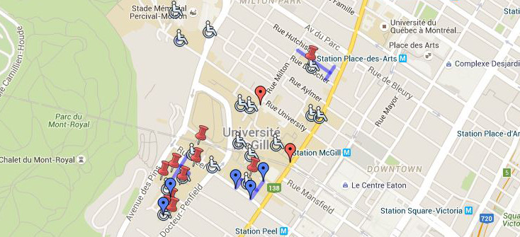 McGill downtown campus accessible parking map - click to visit Google map page.