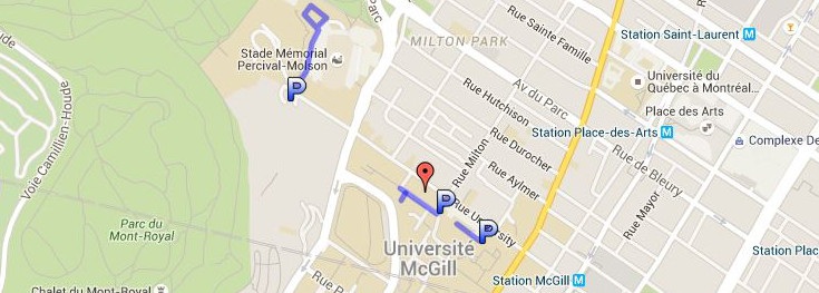 McGill downtown campus parking for weddings at Birks Chapel - Google map