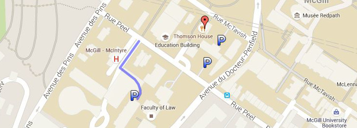 McGill downtown campus - map of parking areas near Thomson House.