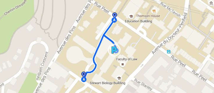 Map showing the location of the McIntyre garage, located on the downtown campus of McGill University.