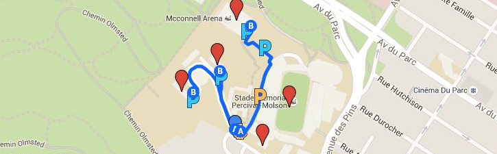 Map of the MNI/Stadium/Arena lot and the alternate parking area: Upper Residences lots.
