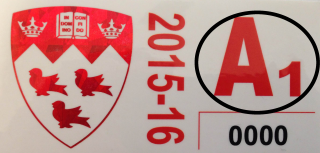 Example of a McGill University parking permit sticker.
