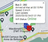 Click on the image of the shuttle bus tracker to launch the mobile-friendly application. The image shows a screen shot from the application, displaying the bus number, bus location, speed, last update and wifi status.
