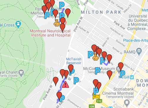 Visitor/public parking map for the McGill University downtown campus.