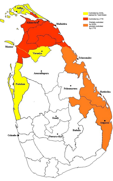Conflict affected areas in Sri Lanka