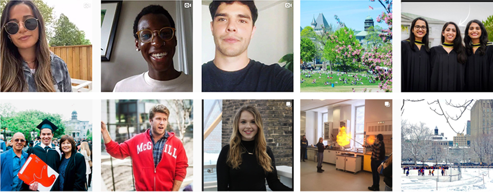 Grid of images from McGill Admissions' Instagram feed