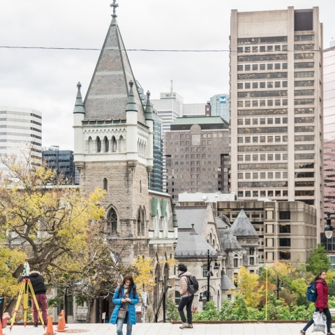Photo of McGill's downtown campus seen from McTavish Street.