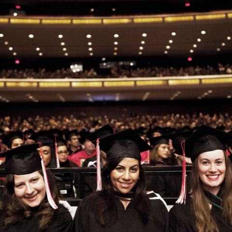 Students attending convocation