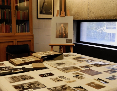 Display of archival material about Edward Beatty's life in the Lande Room of Rare Books, McLennan Library