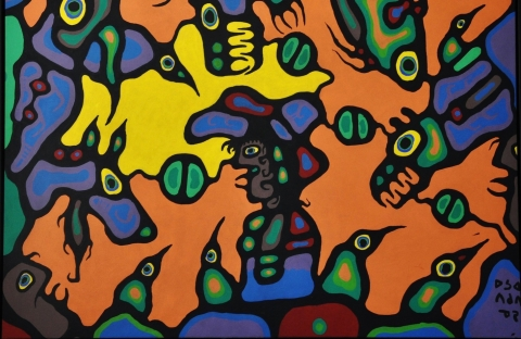 Norval Morrisseau, Shaman Surrounded by Ancestral Spirit Totem