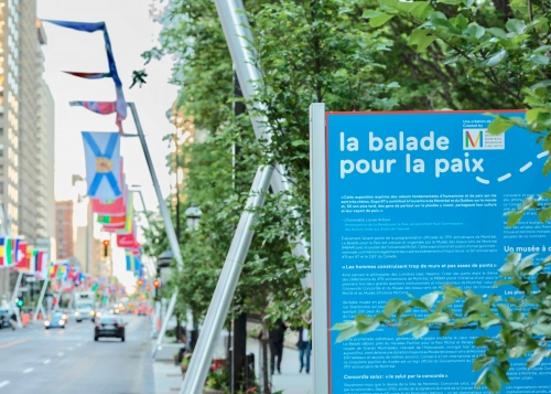 Balade pour la paix along Sherbrooke Street: View of panel and flags