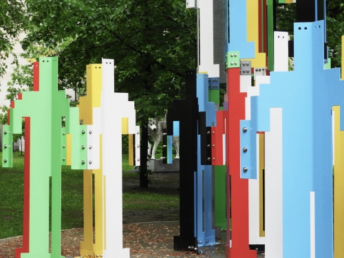 Jonathan Borofsky, Human Structures, 2010, painted steel. On loan from the Vancouver Biennale.