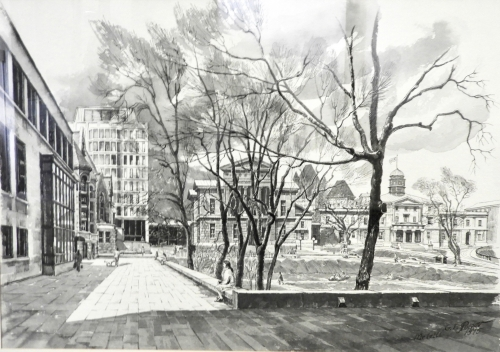 Gregory Popov. McGill (Campus from McLennan Library), 1975, Pen and Ink Wash on Paper, 44 x 64 cm.