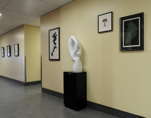 View of the display: Japanese prints and Peter Monk Sculpture