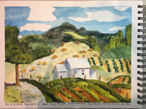 Angela Macleod, De-Stress Sketch Submission, July 12, 2020. Inspired by VAC artwork: Albert Henry Robinson, Farm in the Hills, Knowlton, 1930.