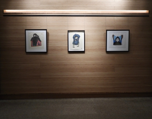 View of three Inuit prints from the display