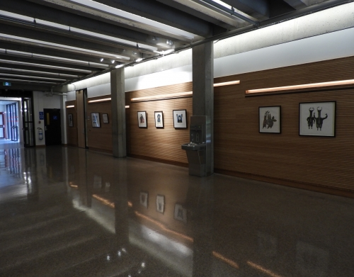 View of the eight Inuit prints in New Chancellor Day Hall