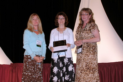 (from left to right) Valerie Nilsson, from sponsor Budget Rent a Car, with McGill's Louise Decelles and Diane Koziol, National First Prize winners of the 2007 Quality and Productivity Awards for their Homer's Physics Seminar Series