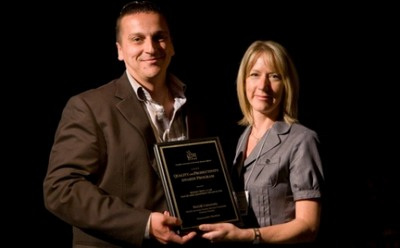 Pierre Barbarie accepting his Honourable Mention award from Valerie Nilsson of Budget Rent a Car, sponsor of the 2009 Quality and Productivity Awards