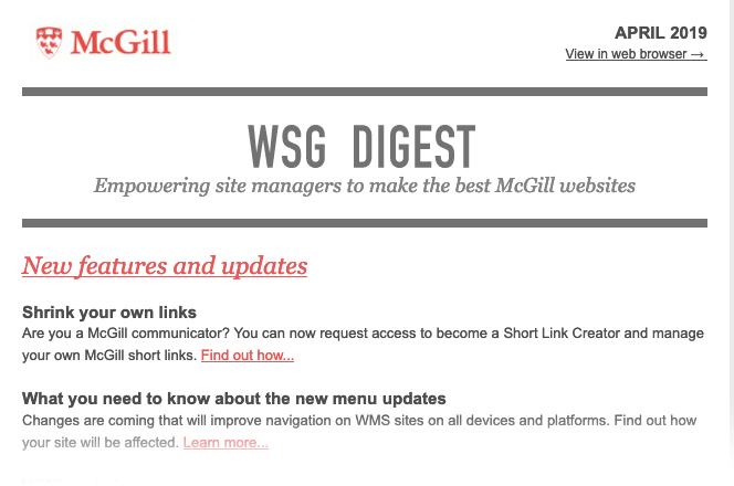 WSG Digest, April 2019 screenshot