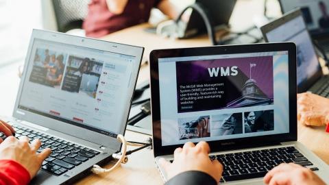 Laptops displaying websites