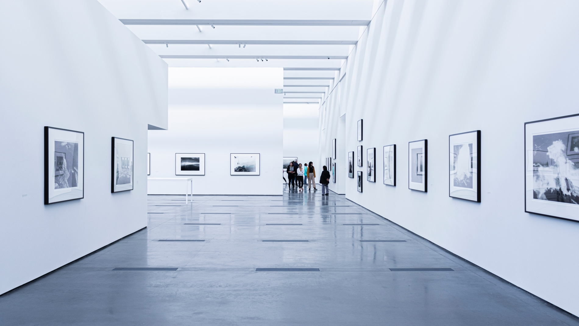 Art gallery hallway with white walls