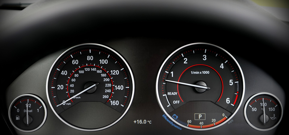 car dashboard with gauges