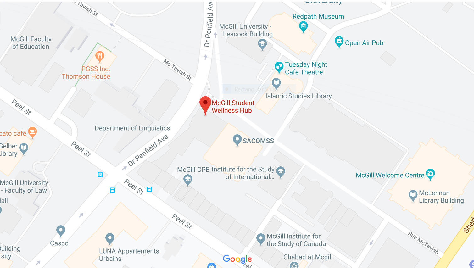 Map to Student Wellness Hub on McTavish Street