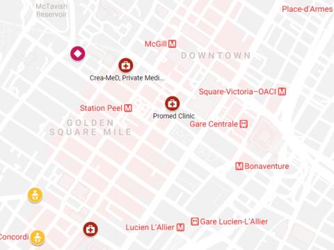 Screenshot of Google map near McGill