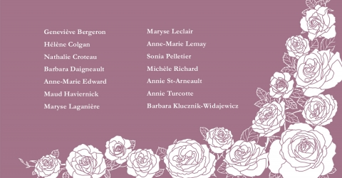 14 roses decorated with leaves and the names of the 14 victims in the polytechnique tragedy