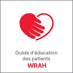 Guide d'éducation des patients texte et logo WRAH rouge avec coeur