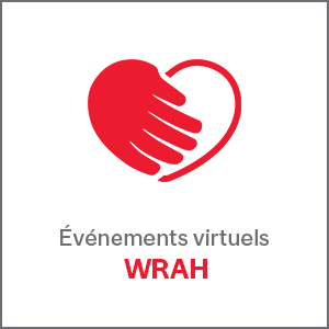 Événements virtuels avec logo WRAH coeur rouge
